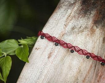 Macramé ankle bracelet, lava stone beads, silver rockery beads