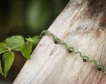 Macramé ankle bracelet, lava stone beads, golden rockery beads