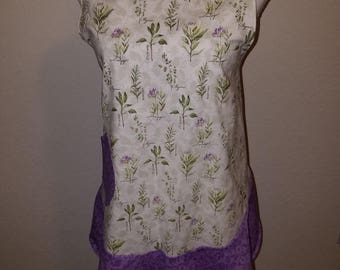 Herb Apron with Purple Ruffle
