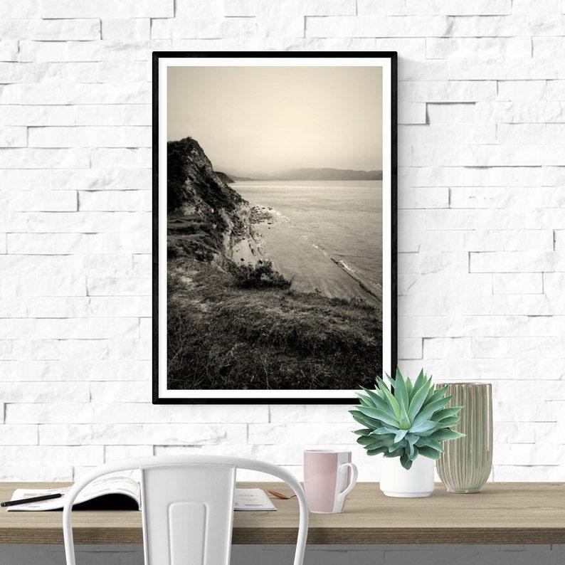 sepia wall art nature lovers gift monochrome nature photography Albania coastline framed print