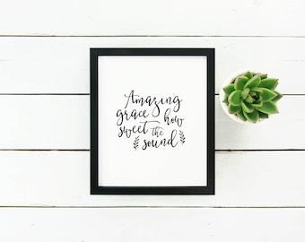 "Art Print ""Amazing Grace"" Wall Art, Home Decor, Calligraphy"