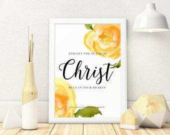 Colossians 3:15 Digital Download, Bible Verse, Watercolour Florals,