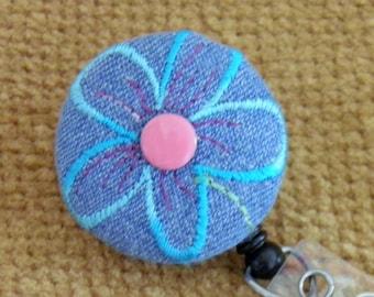Denim Flower Badge Reel