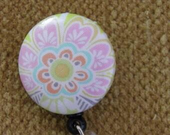 Floral badge reel/ ID holder