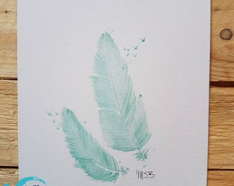 Feathers and turquoise birds
