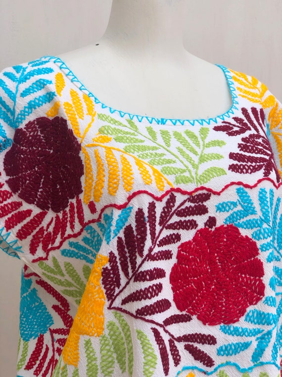 Embroidered mexican dress, Mexican dress with han… - image 4