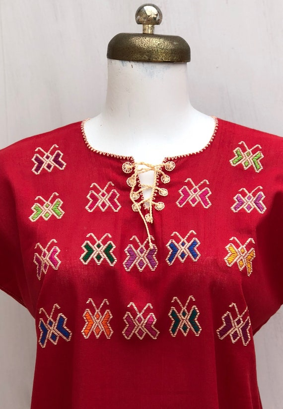 Mexican embroidered butterflies blouse, mexican b… - image 2