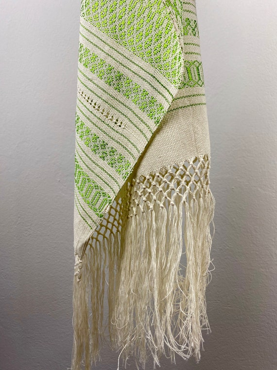 Woven rebozo, woven mexican, green rebozo, mexica… - image 7