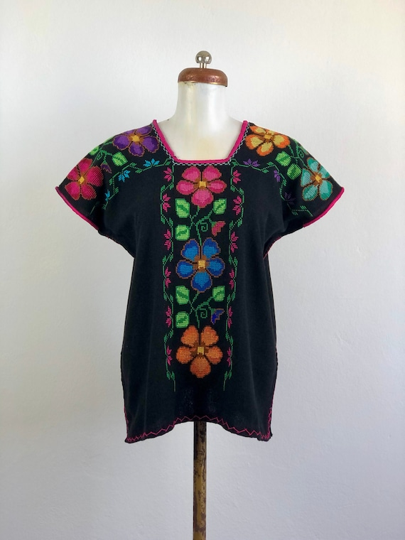Hand Woven mexican black blouse, woven blouse, Mex