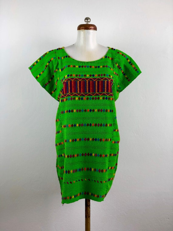 Hand Woven mexican blouse in green cotton, Mexican
