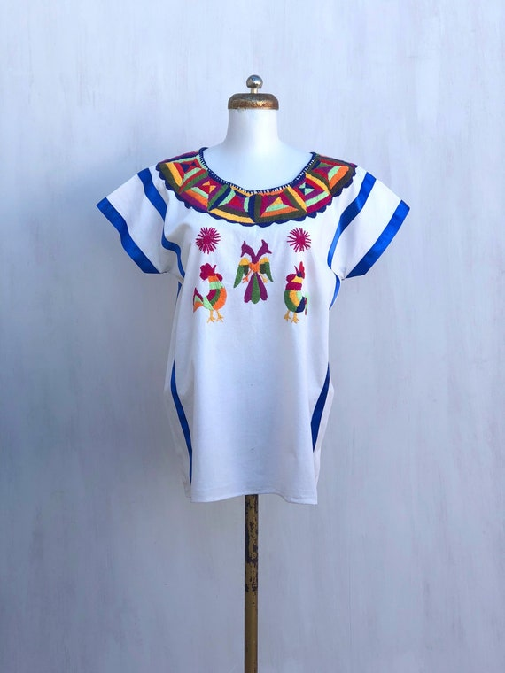 Mexican embroidered blouse, mexican hand embroide… - image 1