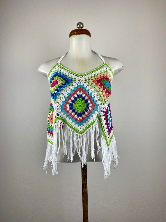 gipsy top, crochet top, hand crafted top, woven cr