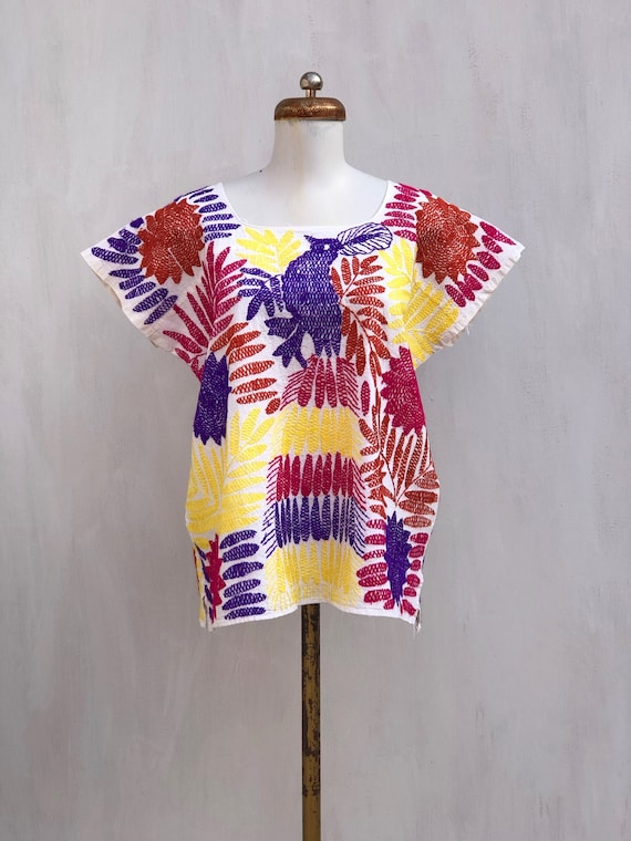 Embroidered mexican blouse, Mexican blouse with h… - image 1