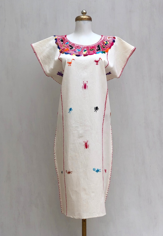 Mexican dress with hand embroidered animals, mexic