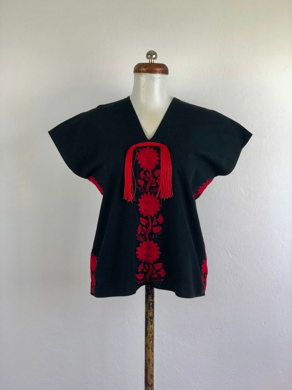 Hand embroidered Oaxaca black blouse, mexican blou