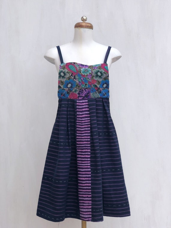 Mexican dress with embroidered flowers, embroidere