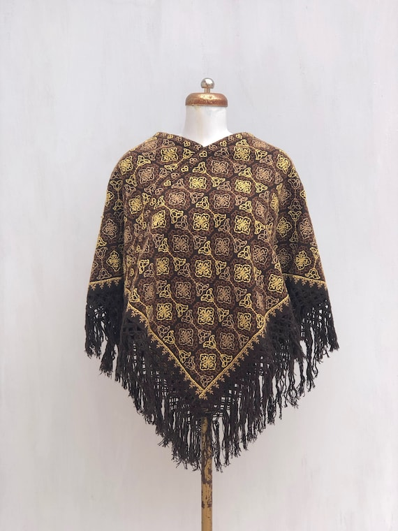 Hand Woven Mexican poncho,  woven poncho with embr
