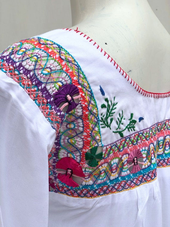 Mexican Embroidered Dress, mexican embroidered pu… - image 7