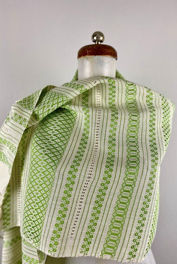 Woven rebozo, woven mexican, green rebozo, mexica… - image 4