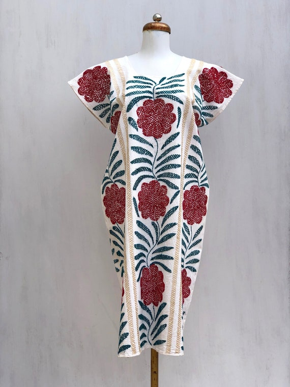 Embroidered mexican dress, Mexican dress with hand