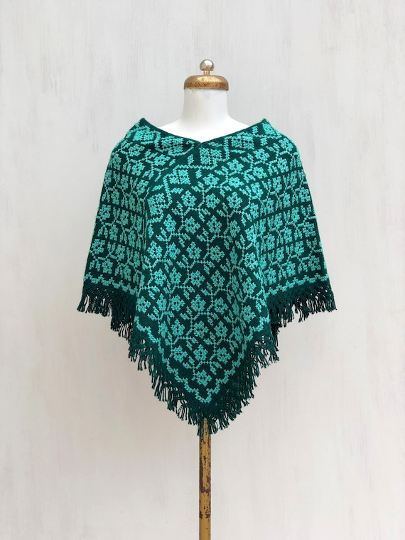 Hand Woven Mexican Poncho  with embroidered flower