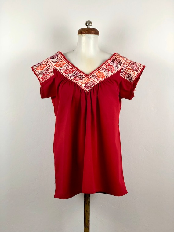 Embroidered mexican blouse, mexican blouse with ha