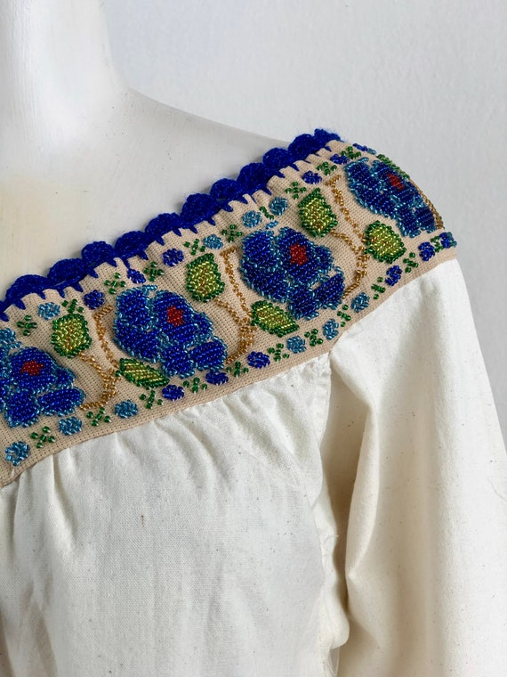 Hand embroidered mexican blouse, mexican blouse w… - image 8
