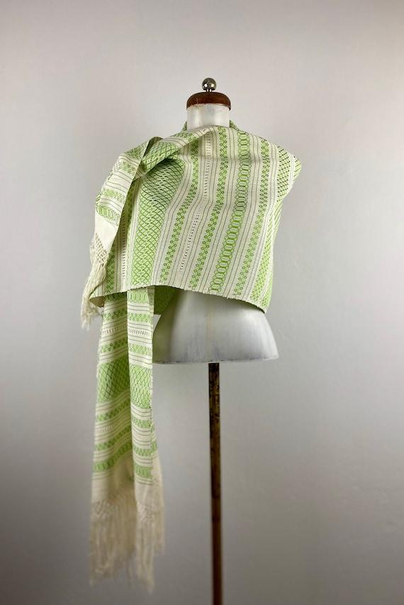 Woven rebozo, woven mexican, green rebozo, mexica… - image 1