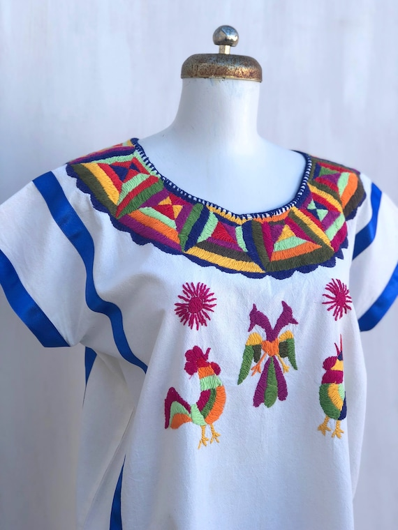 Mexican embroidered blouse, mexican hand embroide… - image 4
