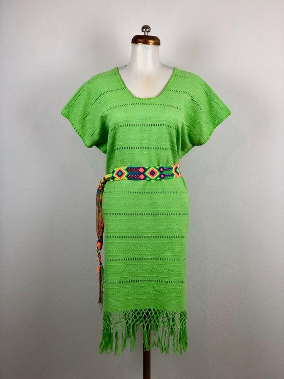 Mexican dress, mexican green dress, Mexican embroi