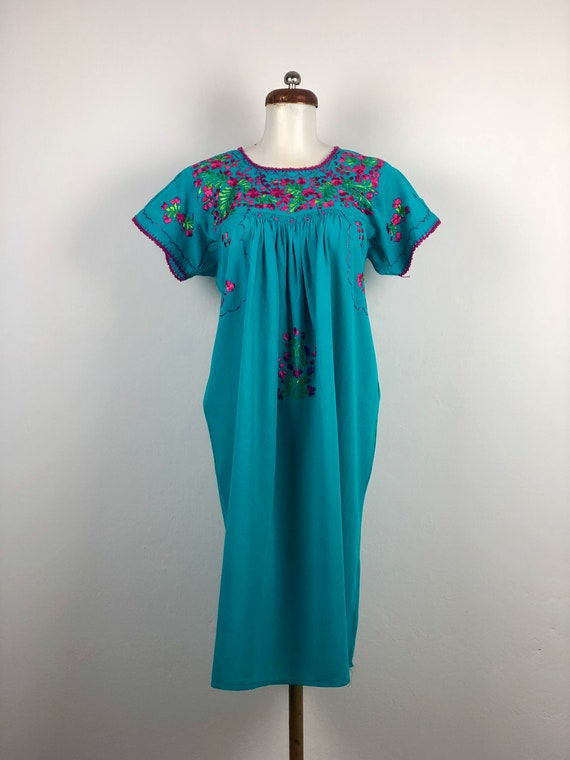Mexican dress with hand embroidered flowers, mexic