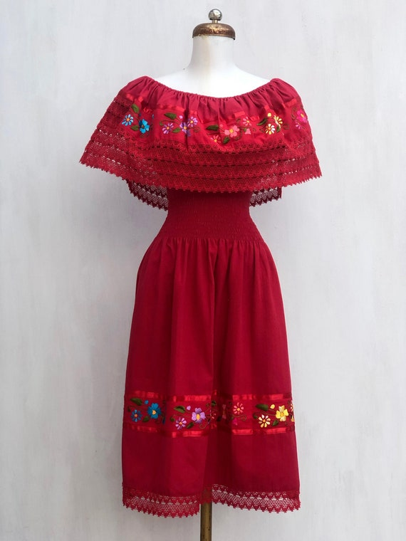 Campesina dress, Mexican dress with hand embroider