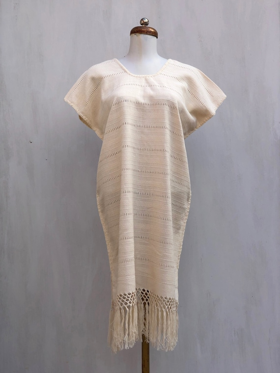 Mexican beige dress, mexican dress, Mexican embroi