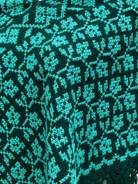 Hand Woven Mexican Poncho  with embroidered flowe… - image 2