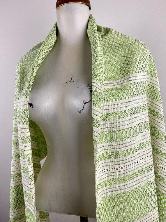 Woven rebozo, woven mexican, green rebozo, mexica… - image 3