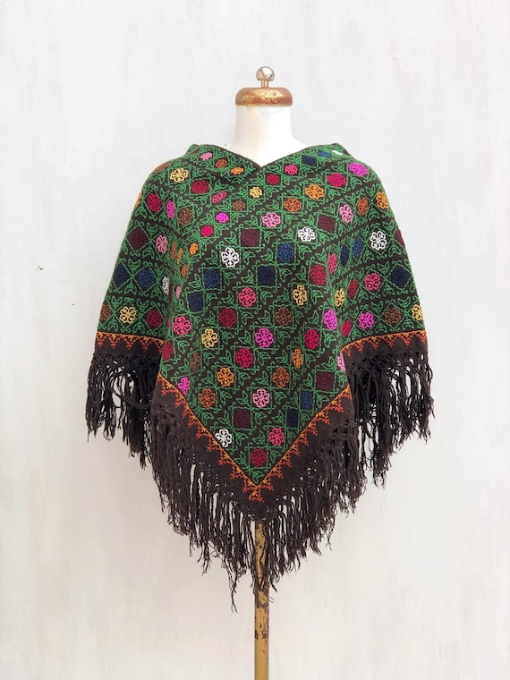 Hand Woven Mexican Poncho  with embroidered cross
