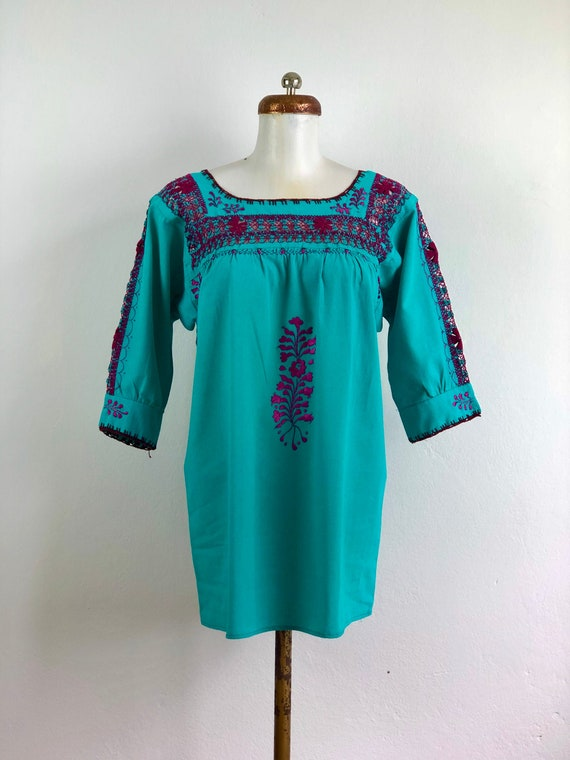 Mexican Embroidered pulled thread blouse in turquo