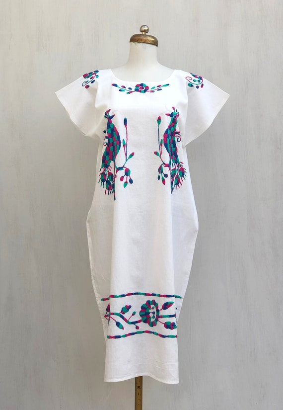 Mexican dress with hand embroidered peacocks and f