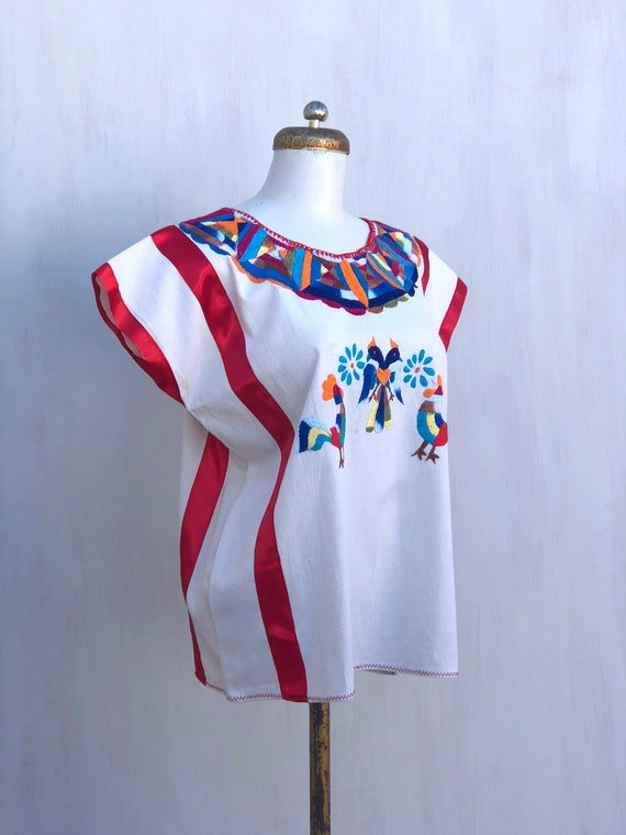 Mexican embroidered blouse, mexican hand embroide… - image 5