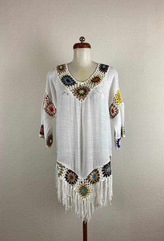boho blouse, beach blouse, granny square coverup,