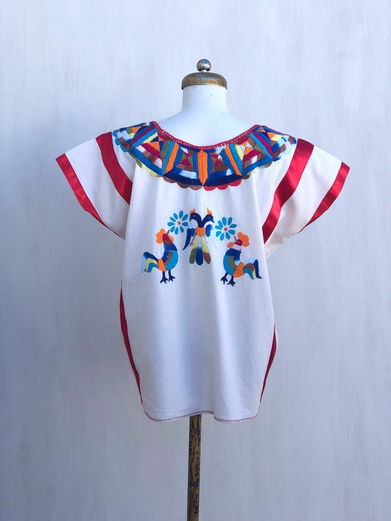 Mexican embroidered blouse, mexican hand embroide… - image 7