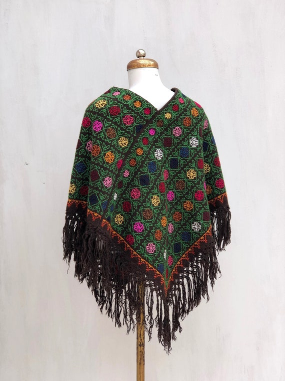 Hand Woven Mexican Poncho  with embroidered cross… - image 3