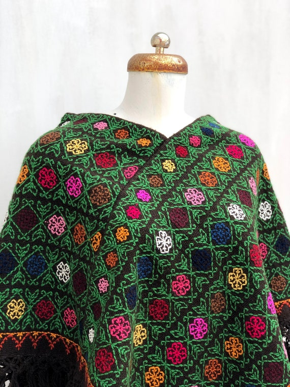Hand Woven Mexican Poncho  with embroidered cross… - image 4