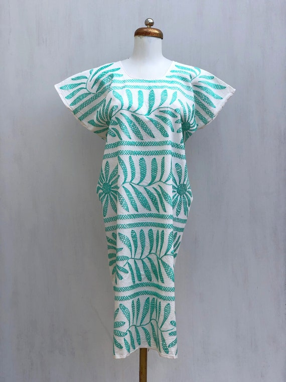 Embroidered mexican dress, Mexican mint green dres