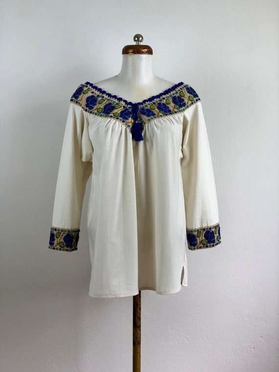 Hand embroidered mexican blouse, mexican blouse w… - image 1