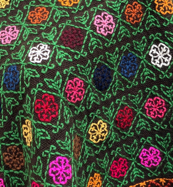 Hand Woven Mexican Poncho  with embroidered cross… - image 2