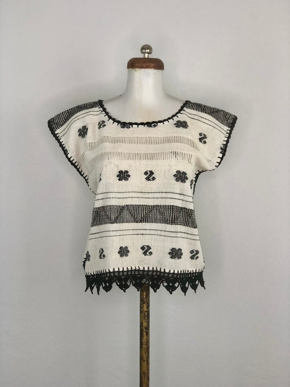 Hand woven mexican blouse, mexican woven blouse, h