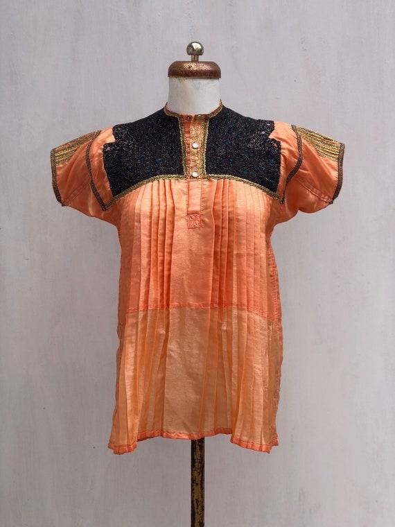 Vintage Chamula blouse in orange satin, mexican Em