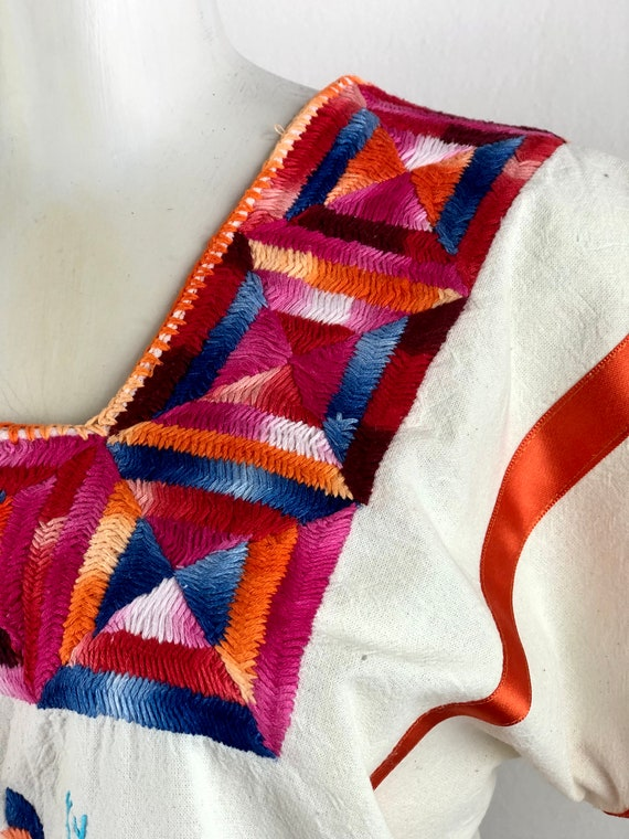 Mexican embroidered blouse, mexican hand embroide… - image 8