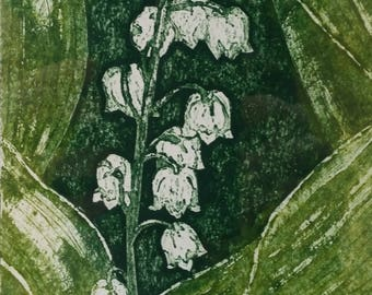 Original, hand printed collagraph, signed original print, Lilly of the Valley